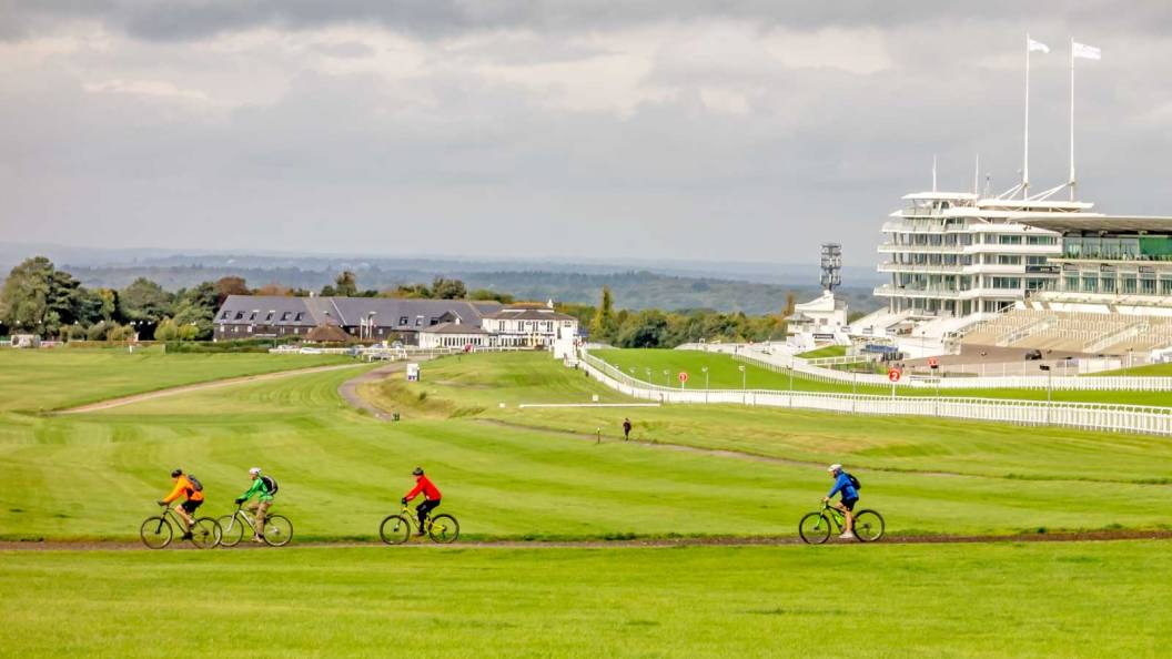 Bikers cross the Downs